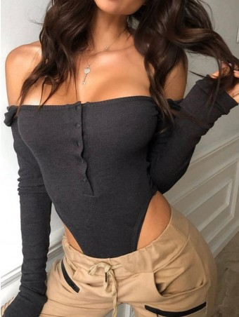 JurllyShe Rib Slash Neck Bodysuit