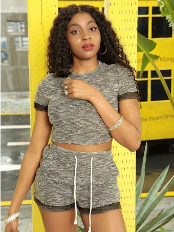 JurllyShe Round Neck Tee Shorts Suits Two Piece Sets