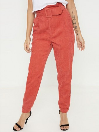 JurllyShe Ruffle Detail Waist Belted Corduroy Pants-Orange