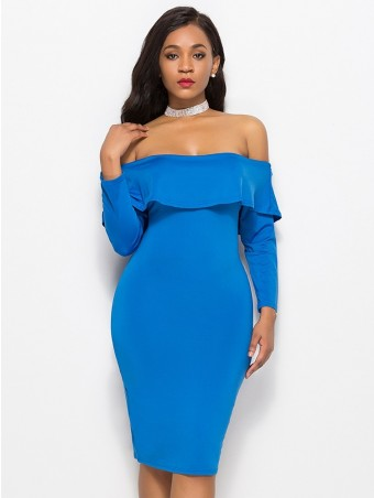 JurllyShe Ruffles Slash Neck Bodycon Dress