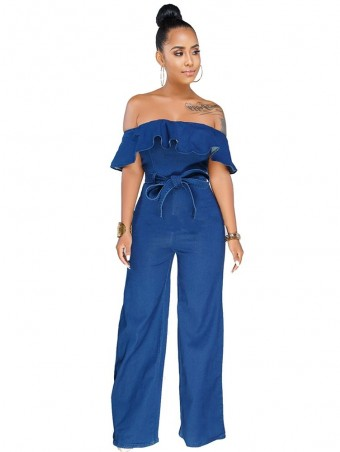 JurllyShe Ruffles Wide Leg Denim Jumpsuit with Belt
