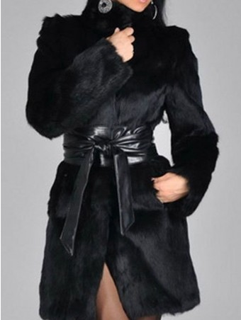 JurllyShe Self PU Belt Faux Rabbit Fur Coat