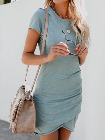 JurllyShe Short Sleeve O Neck Ruched Bodycon Dress