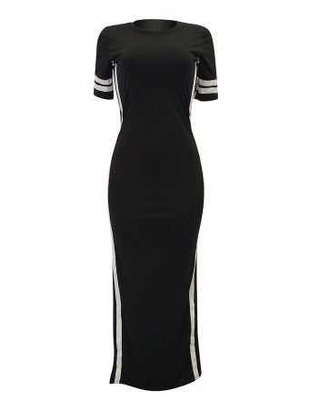 JurllyShe Side High Split Striped Tape Long Dress