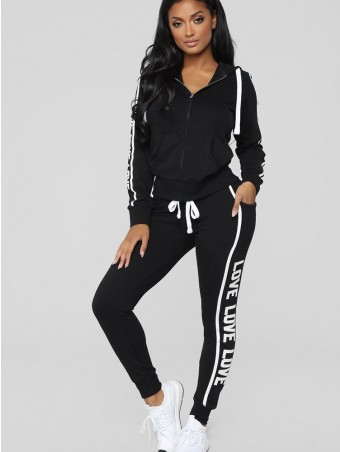 JurllyShe Side Letter Print Hooded Jacket and Drawstring Pants Set