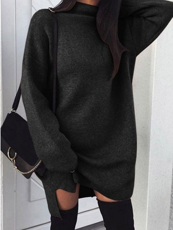 JurllyShe Side Slipt Long Knitting Sweatshirt