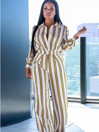 JurllyShe Single Breasted Stripe Blouses With  Wide Leg Pants