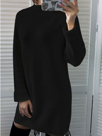 JurllyShe Stand-Neck Knit Trim Sweater Dress