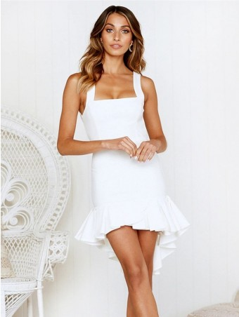 JurllyShe Strap Surplice White Summer Dress With Ruffle Hem