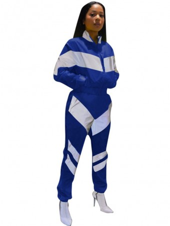 JurllyShe Striped Patchwork Zipper Jacket And Pants Two Piece Sets-Blue