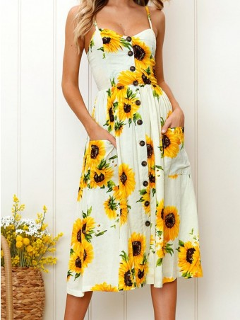 JurllyShe Sunflower Print Button Up Cami Dress