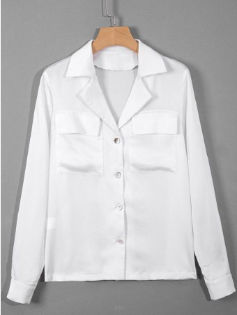 JurllyShe Tailored Collar Pockets Decorated White Blouse
