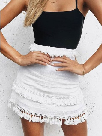 JurllyShe Tassel Trim Side Zip-Up Skirt