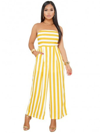 JurllyShe Tube Cami Striped Wide Leg Jumpsuit