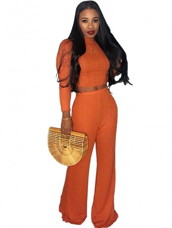 JurllyShe Turtleneck Knitted Sweater Tops and Wide Leg Pants Suit