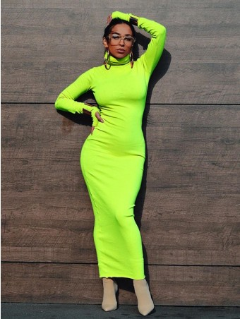 JurllyShe Turtleneck Neon Color Long Dress