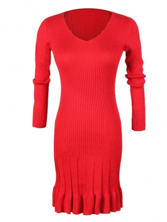 JurllyShe Twisted Knitting Pleated Dress