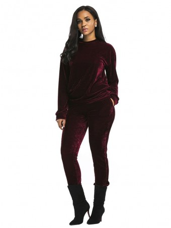 JurllyShe Velvet Crop Top & Long Pants Set-Wine