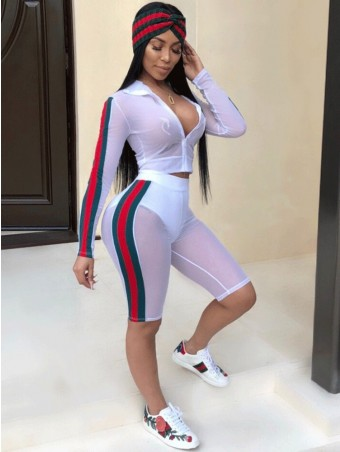 JurllyShe Zip-Up Sheer Tee With Side Colorful Tape Shorts Outfits