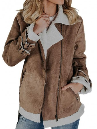 JurllyShe Zip Detail Faux Shearling Warmth Coat