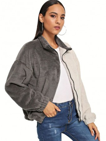 JurllyShe Zip Up Color-Block Teddy Jacket