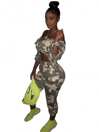 JurllyShe Zip Up Crop Top With Drawstring Camo Pants