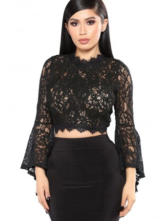 JurllyShe Zipper Back Hollow Out  Lace Up Blouse