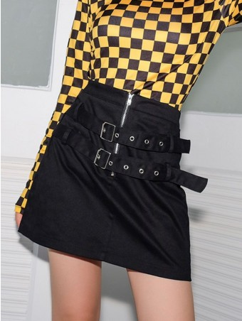 JurllyShe Zipper Front Adjustable Buckle Skirt