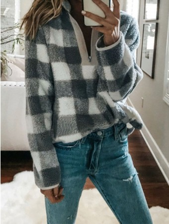 JurllyShe Zipper Front Faux Fur Plaid Hoodie