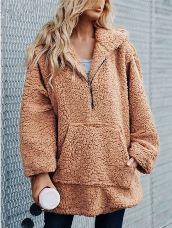 JurllyShe Zipper & Pocket Up Faux Fur Teddy Jacket