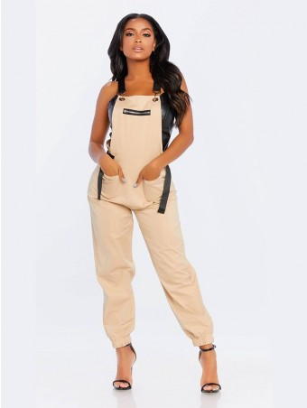 JurllyShe Zippers Adjustable Backless Suspenders Jumpsuit Overalls