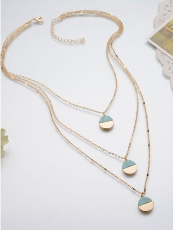 Layered Contrast Color Turquoise Disc Chain Necklace