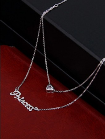 Letter & Heart Design Double Layered Neckalce