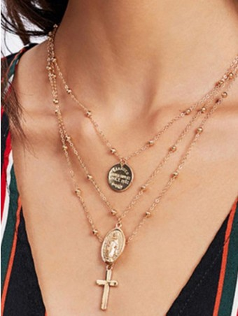 Madonna Crucifix Design Layered chain Necklace