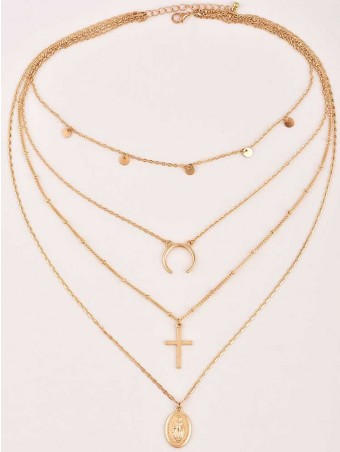 Madonna Crucifix Moon Design Layered Chain Charm Necklace