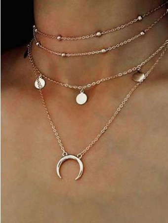 Moon&Disc Design Layered Necklace