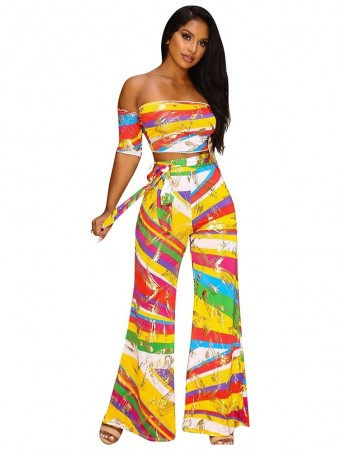 JurllyShe Multicolor Striped Top with Wide Pants