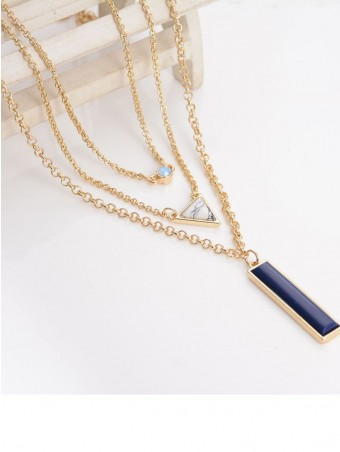 Navy Blue Rectangle & Triangle Decor Layered Chain Necklace
