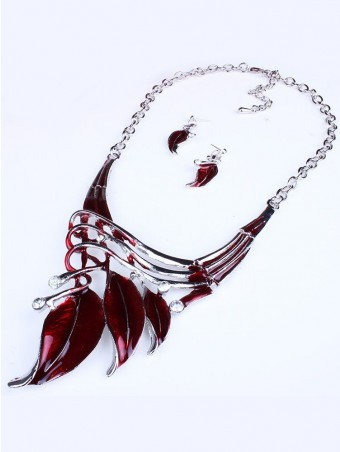 Oil Drip Faux Diamond Necklace With Earrings Set