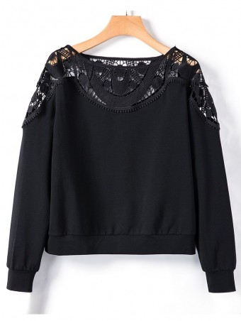 JurllyShe Black Hollow Out Lace Spliced Casual Tops