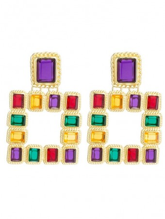 Rectangle Acrylic Decorated Drop Earjewelrys