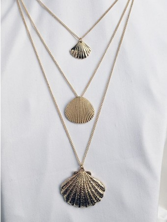 Scallop Pendant Layered Gold Chain Necklace