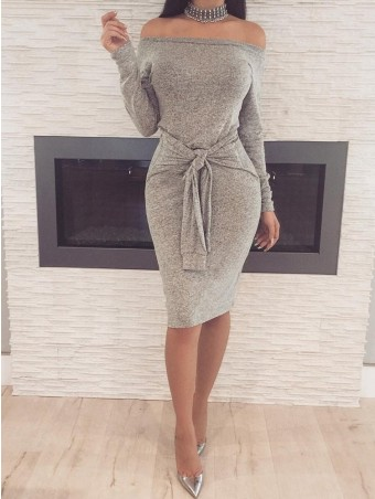 Self Tie Waist Long Sleeve Bardot Dress