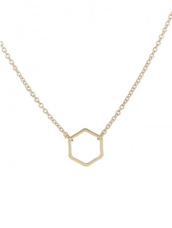 Simple Hexagon Design Pendant Necklace