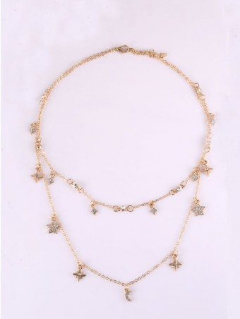 Star Moon Design Layered Chain Necklace