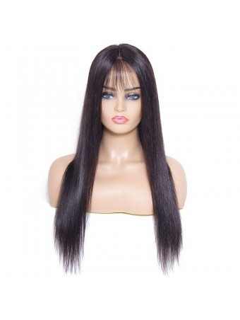 AfricanMall Pre-Plucked Free Part Silky Straight Lace Front Human Hair Wig With Baby Hair