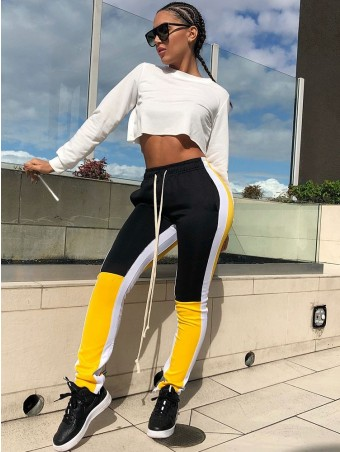 JurllyShe Contrast Color Side Stripe Drawstring Sweatpants