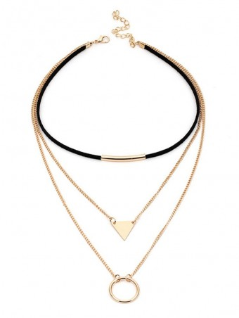 Triangle & Circle Detail Chain Layered Chocker Necklaces
