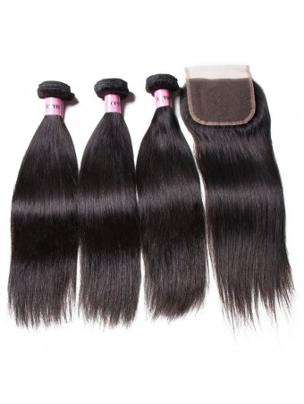 UNice Icenu Series 3 Bundles Brazilian Straight Hair With Lace Closure