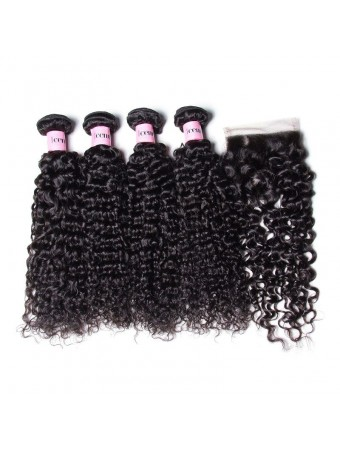 UNice Icenu Series 4pcs Brazilian Curly Weave Hair With Closure